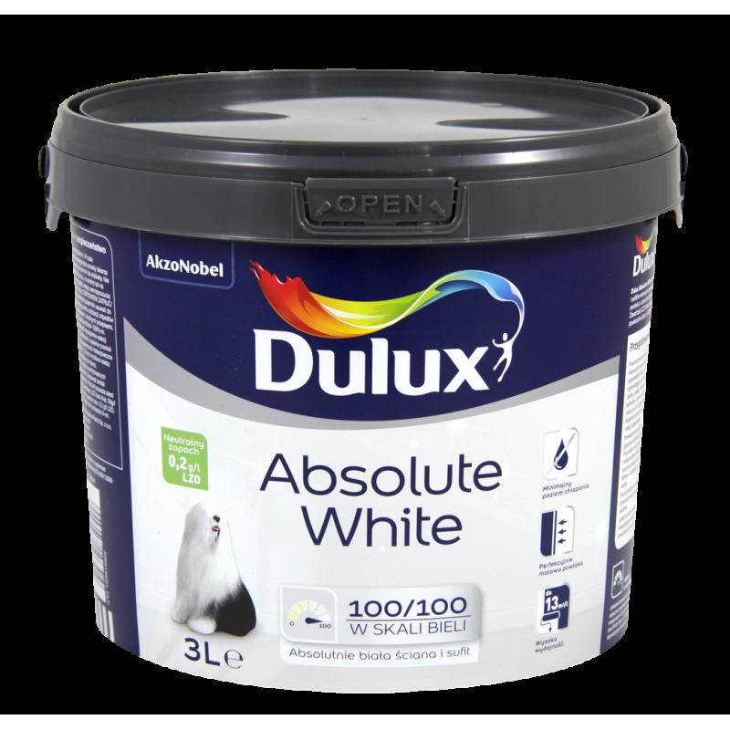 dulux absolute white 3l sklep deko kolor. Black Bedroom Furniture Sets. Home Design Ideas